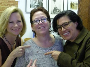 Guild staff Kat Anderson, Margo Brenes and Eva Varga celebrate Brenes' 40 years as a Guild member. Photo by Carl Hall 2014.