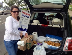 ASLIU members in San Diego were treated to tamales by a supportive mom.  Photo courtesy CWA staff 2014.