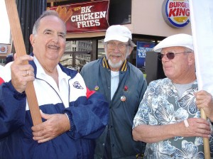 Ken Prairie, Harry Sitonen, and Charlie Tobias join in a rally in downtown Oakland for workers from the Hayward Urbanite plant when they were negotiating a contract. Photo courtesy Gloria LaRiva.