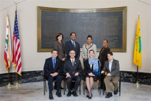 Oakland city council members. Front row from left: Noel Gallo, Dan Kalb, Libby Schaaf, Rebecca Kaplan Back row from left: Patricia Kernighan, Larry Reid, Lynette Gibson McElhaney, Desley Brooks Photo courtesy City of Oakland 2014
