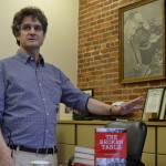 Chris Rhomberg, author of The Broken Table, discusses the Detroit newspaper strike with members of the Pacific Media Workers Guild, at the Guild's offices in San Francisco.  Photo by Kevin Skahan 2014.