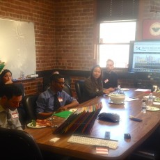 Guild executive officer Carl Hall welcomes new San Francisco Chronicle unit members during a lunch at the Guild HQ on Wednesday.  (Photo: Media Workers staff 2015.)