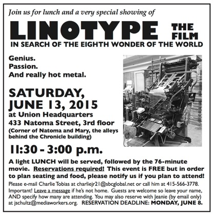 "Showing ""Linotype: the Film"" at the Guild: all invited"
